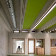 Green covers the floors and ceiling
