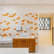 Bathrooms have a light and colourful design