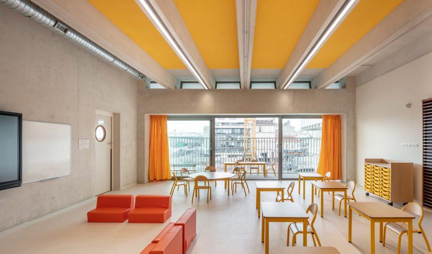 Classrooms at the Antoine de Ruffi School overlook Marseille