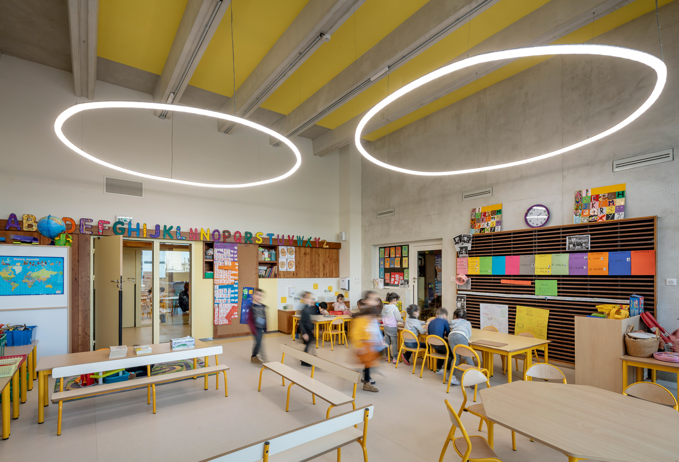 Teaching spaces have halo lighting