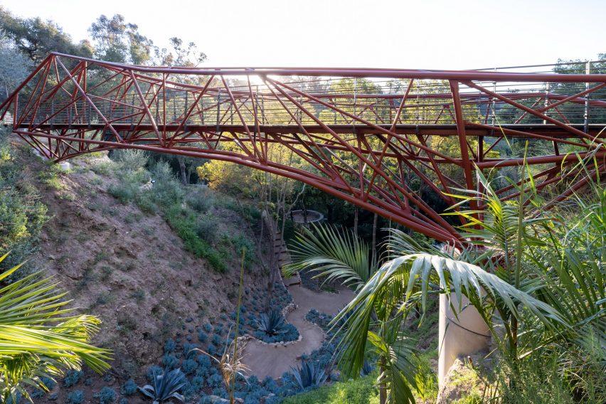 Steel tube bridge over a canyon