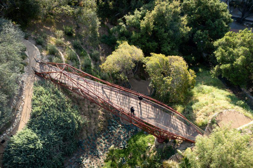 Aerial view looking down on Arroyo Bridge in California