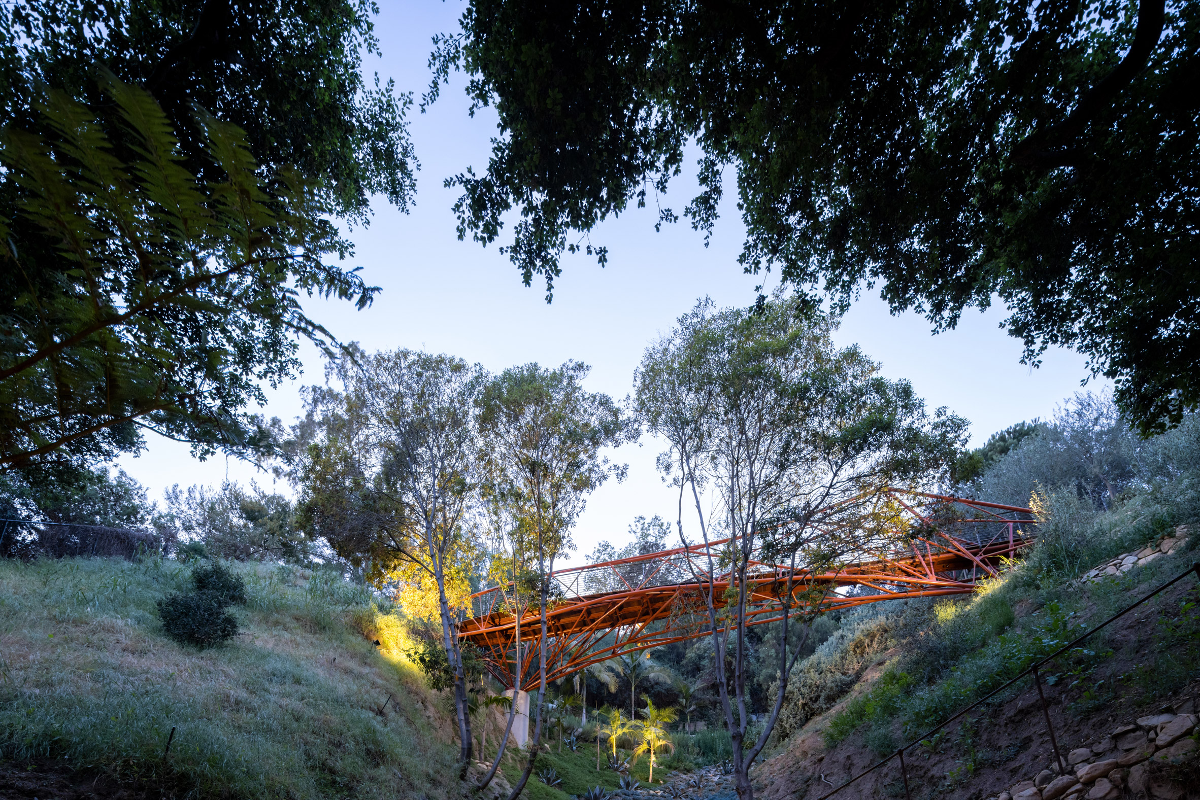 Arroyo Bridge lit up at dusk