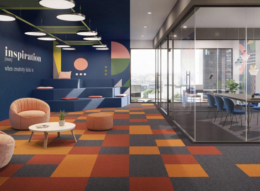 Colourful carpet tiles