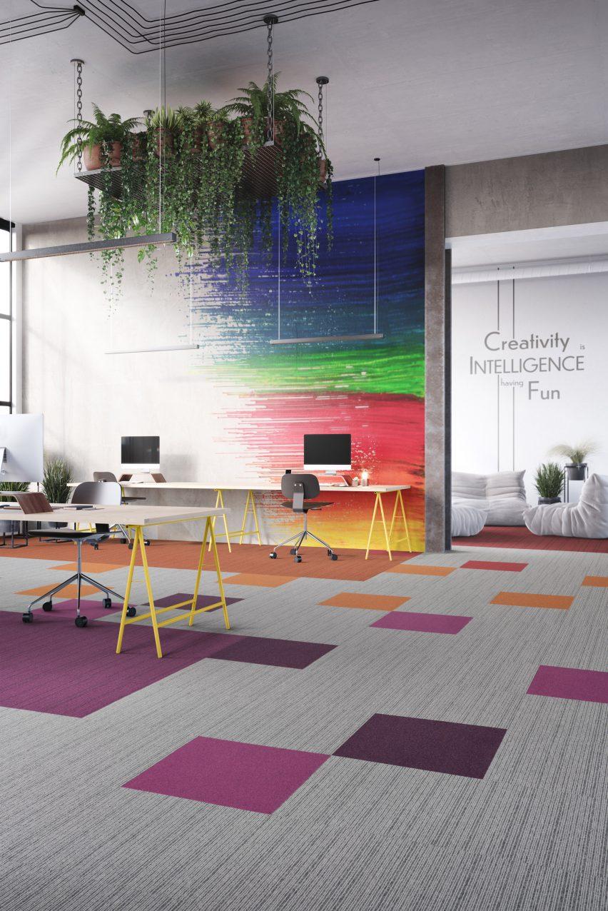 Grey, purple and orange carpet tiles