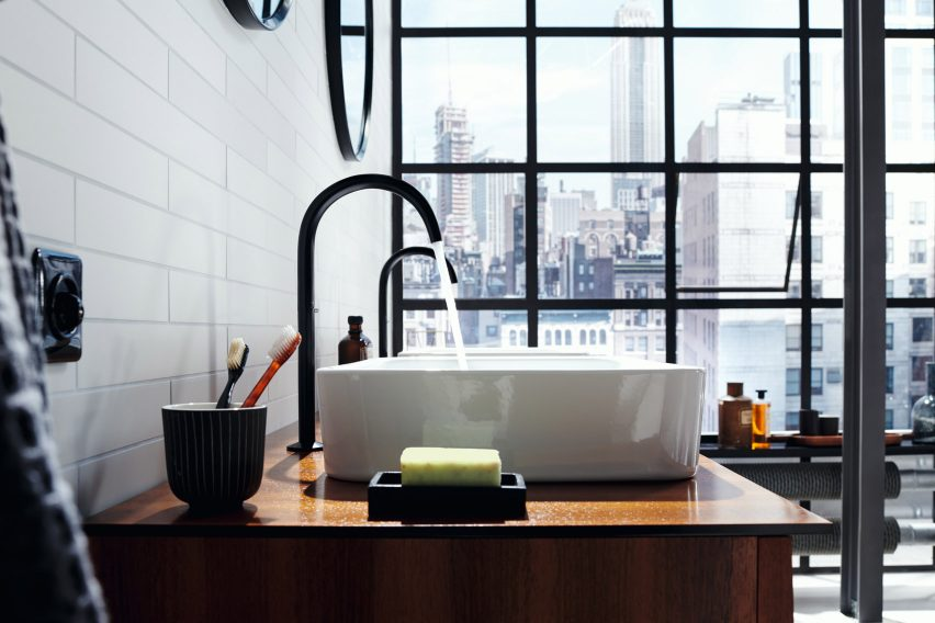 Bathroom featuring the AXOR One faucet by Barber & Osgerby
