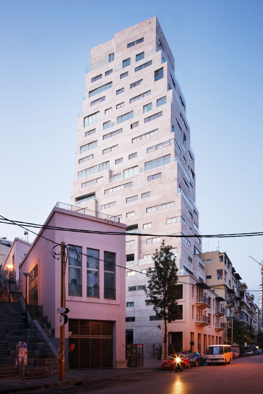 Facade of Aya Tower in Beirut by SOA Architectes