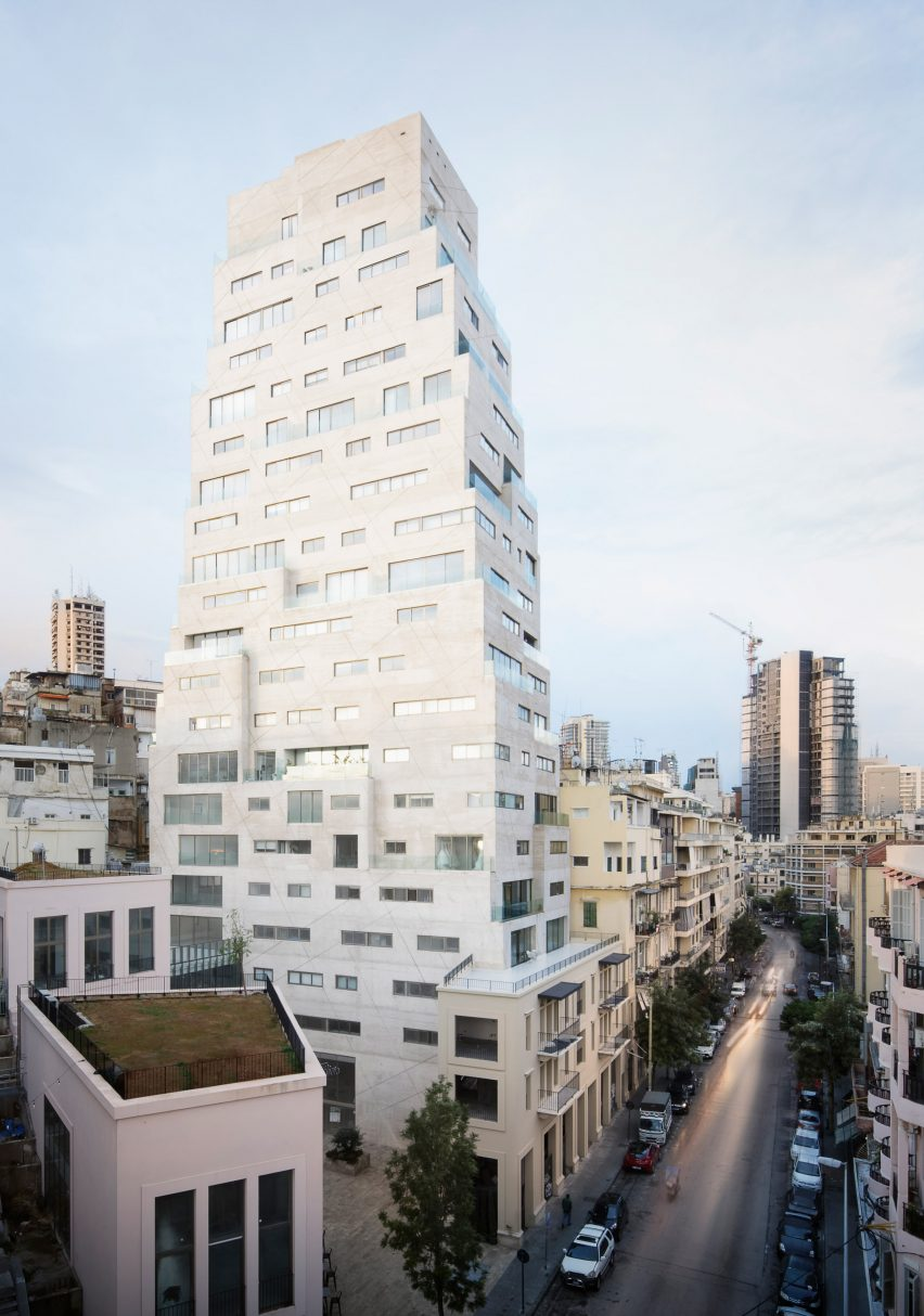 Street view of Aya Tower in Beirut by SOA Architectes