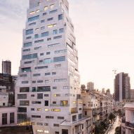 Dusk view of Aya Tower in Beirut by SOA Architectes