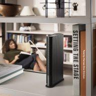The Beosound Speaker can sit on a bookshelf