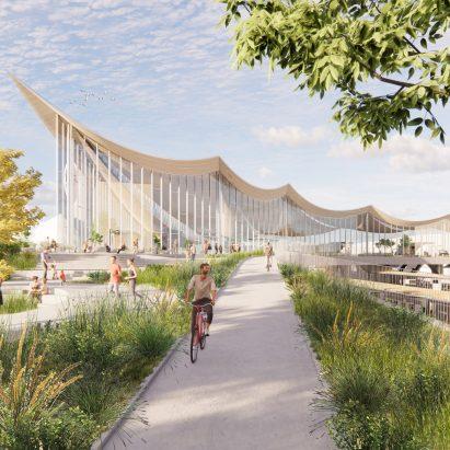 Vasteras Travel Center render by BIG