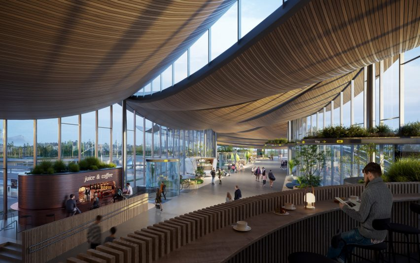 Curved timber ceiling on Vasteras Travel Center by BIG