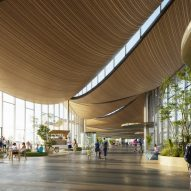 Render of curved wooden ceiling