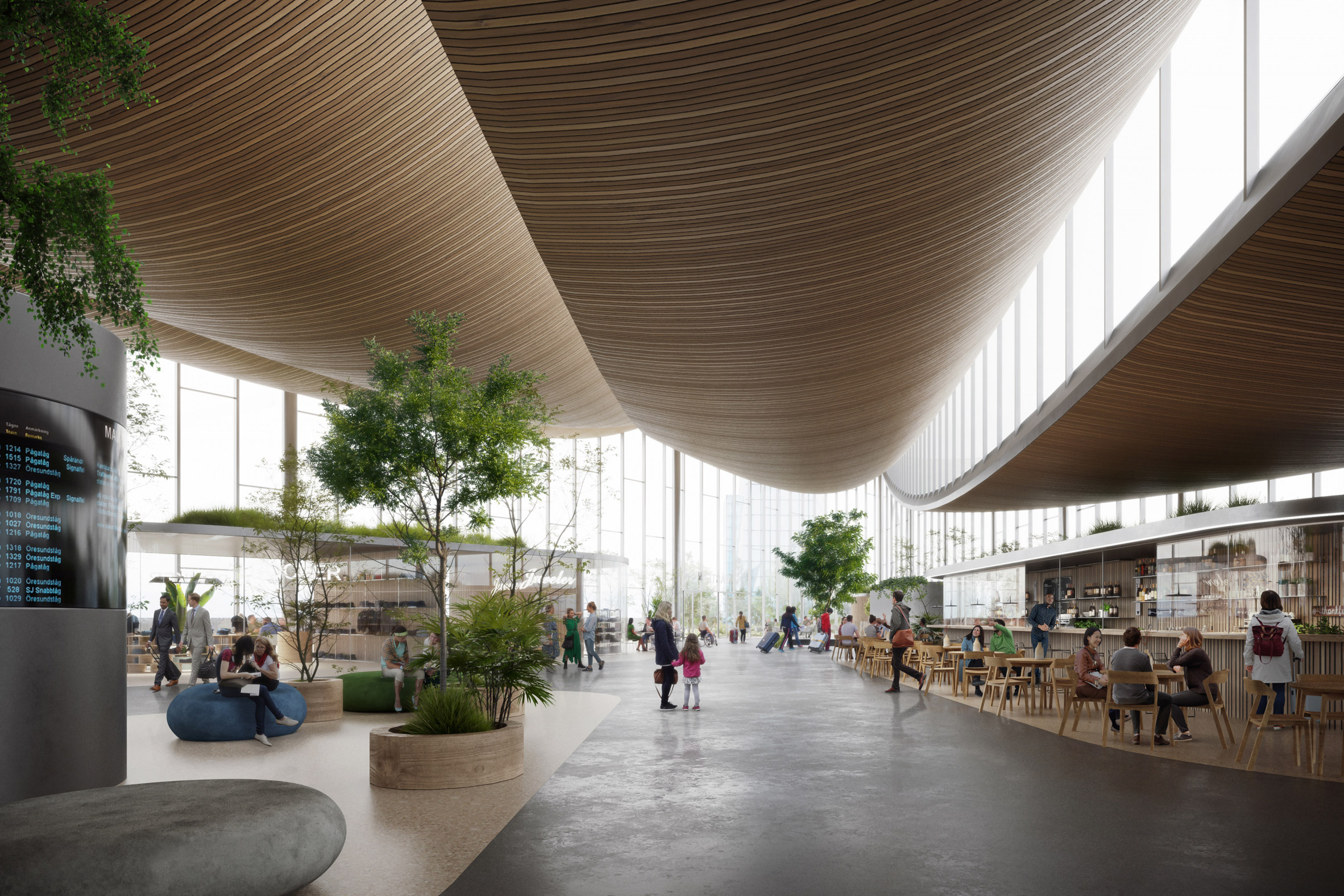 Render of sweeping ceiling made of wooden slats