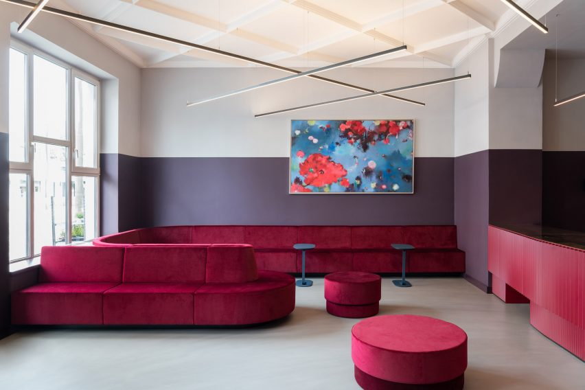 Cinema foyer with red velvet seats