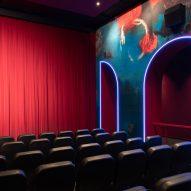 Cinema auditorium with neon lights