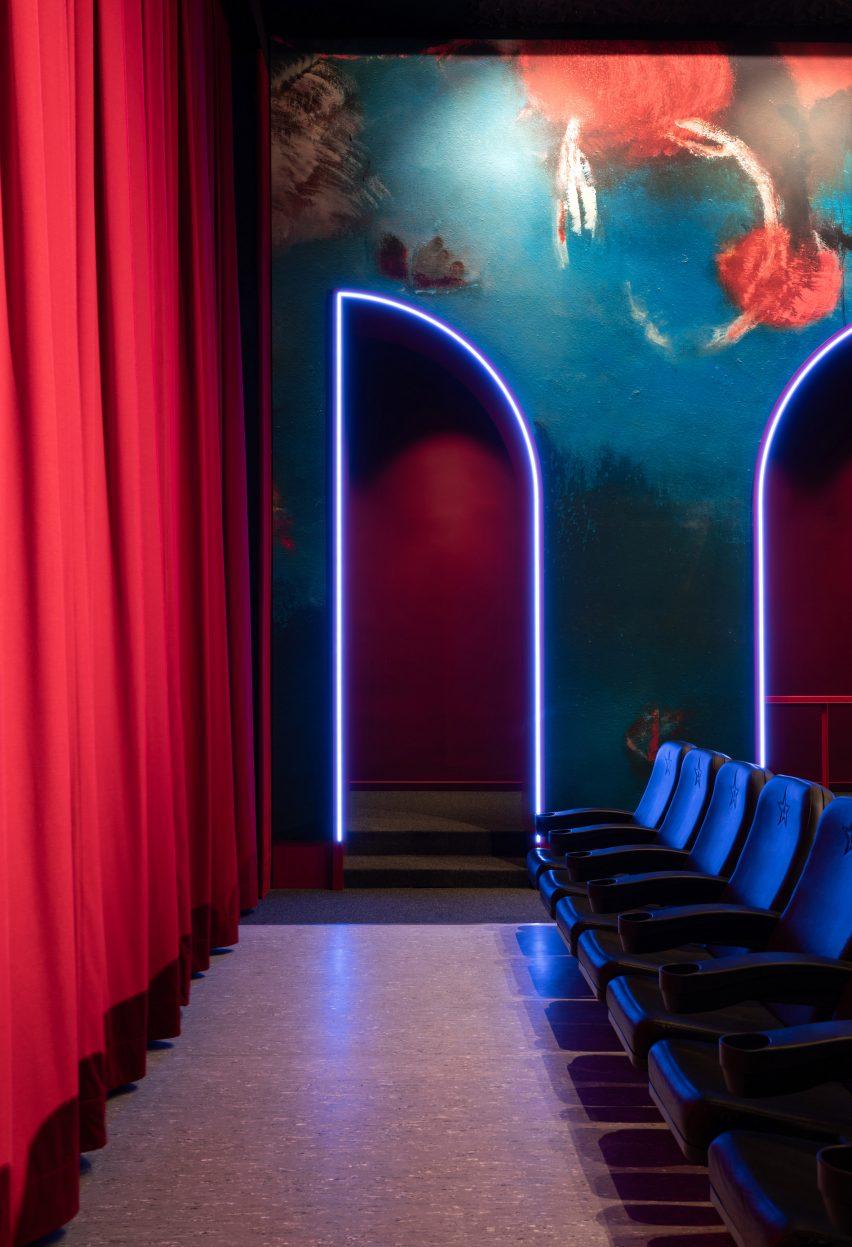 Neon lights trace door opening
