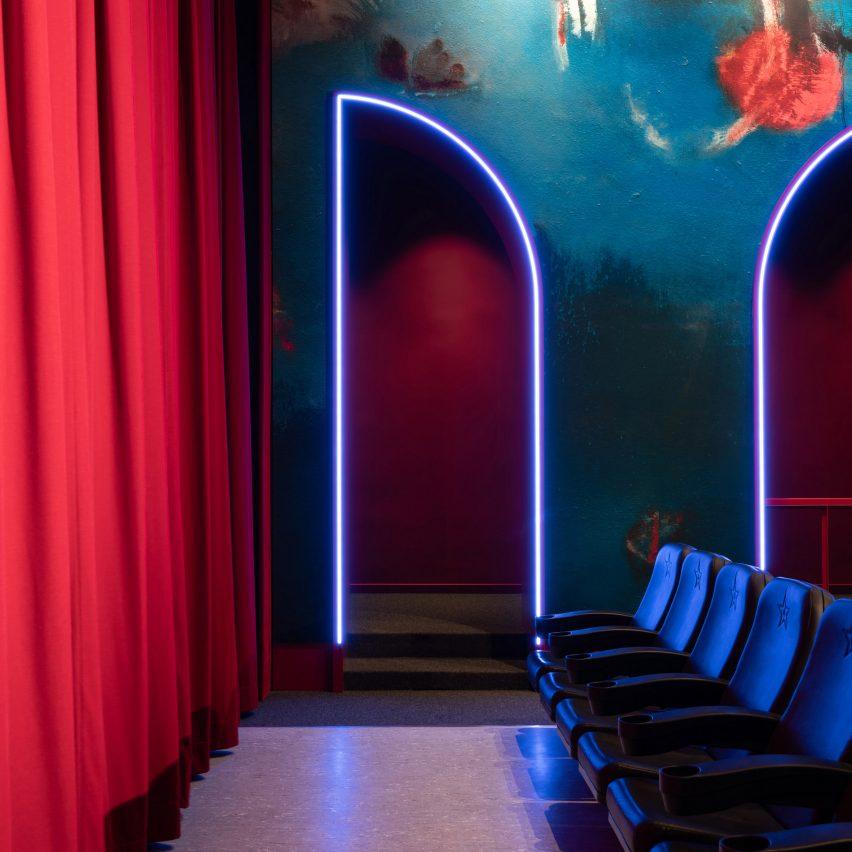 Blue neon detailing in Berlin cinema