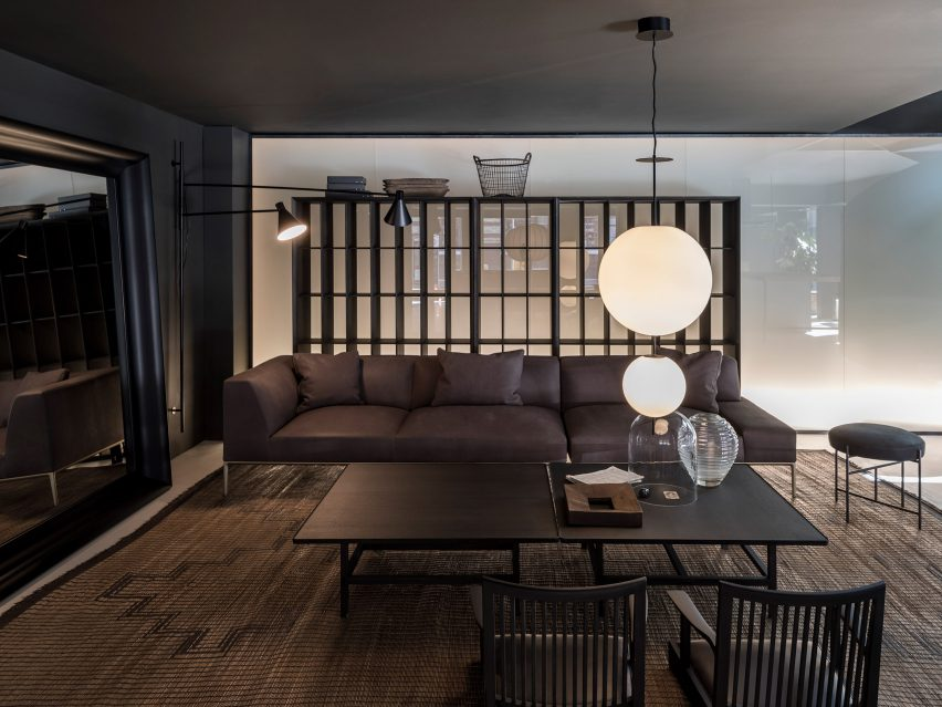 Horizontal Sofa designed by Time & Style in a Boffi De Padova Showroom