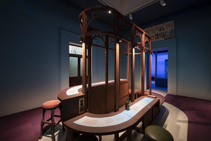 An installation that evokes a pub
