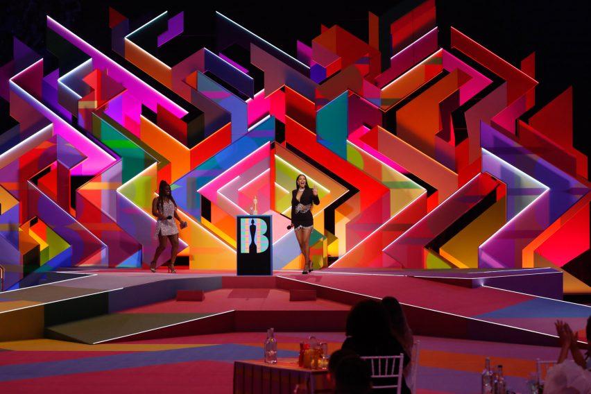 Wide view of Es Devlin's set design for Brit Awards 2021