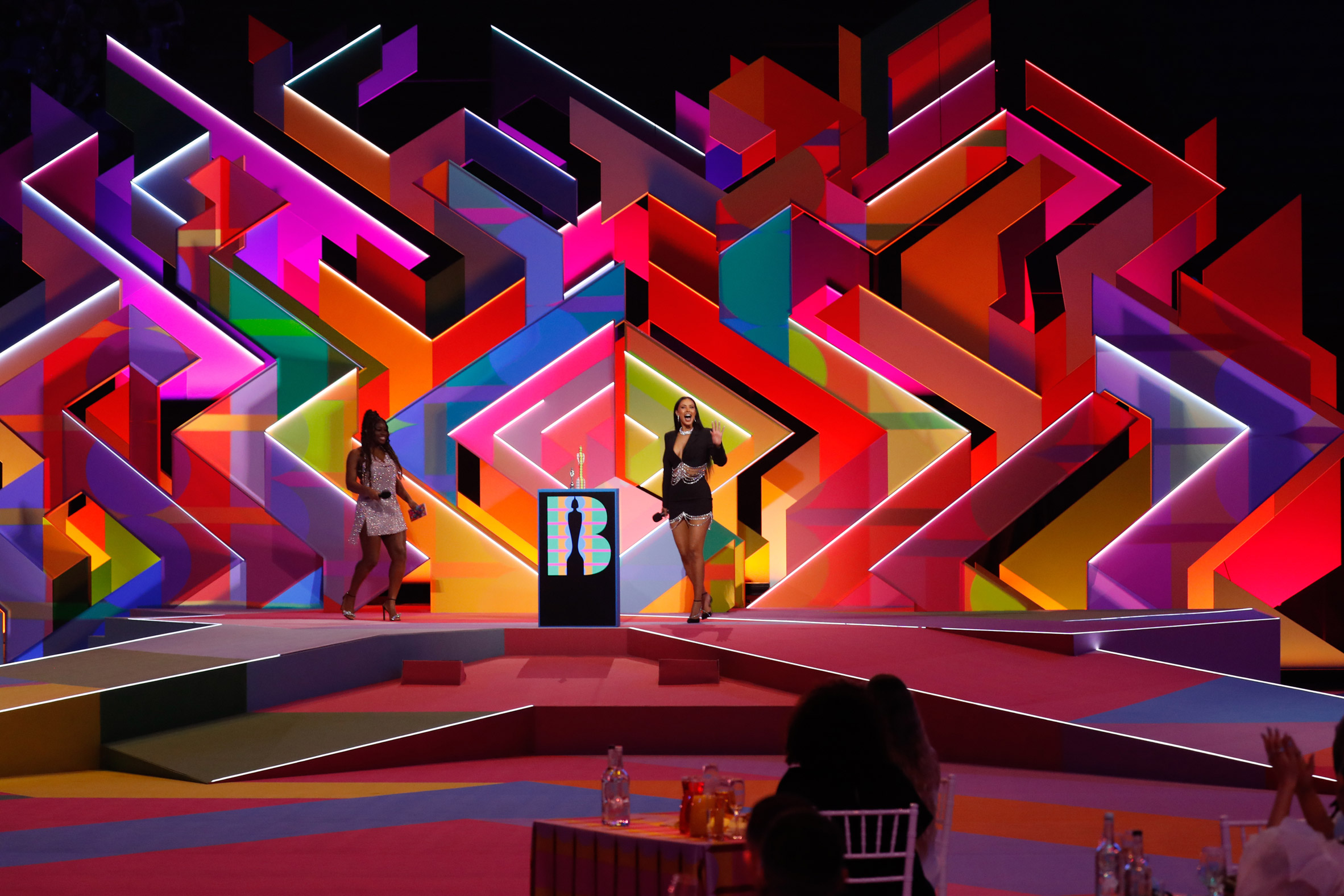 Wide view of Es Devlin's set design for Brit Awards 2021