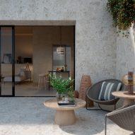 Outdoor terrace with Marazzi Caracter tiles on the walls and floor