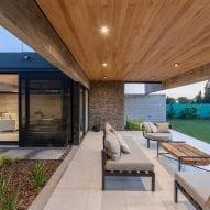Outdoor seating facing golf course
