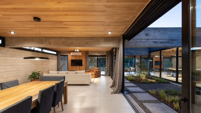 Living space in grand concrete house
