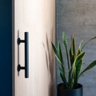 Timber door with black handle