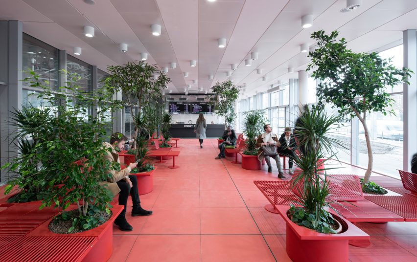 The terminal by Chybik + Kristof has red painted interiors