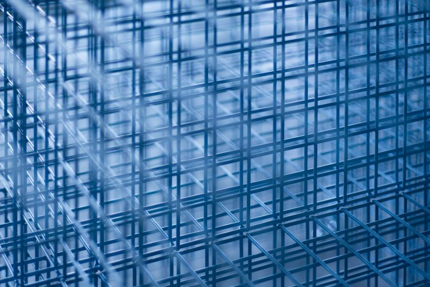 Detail shot of the gridded mesh
