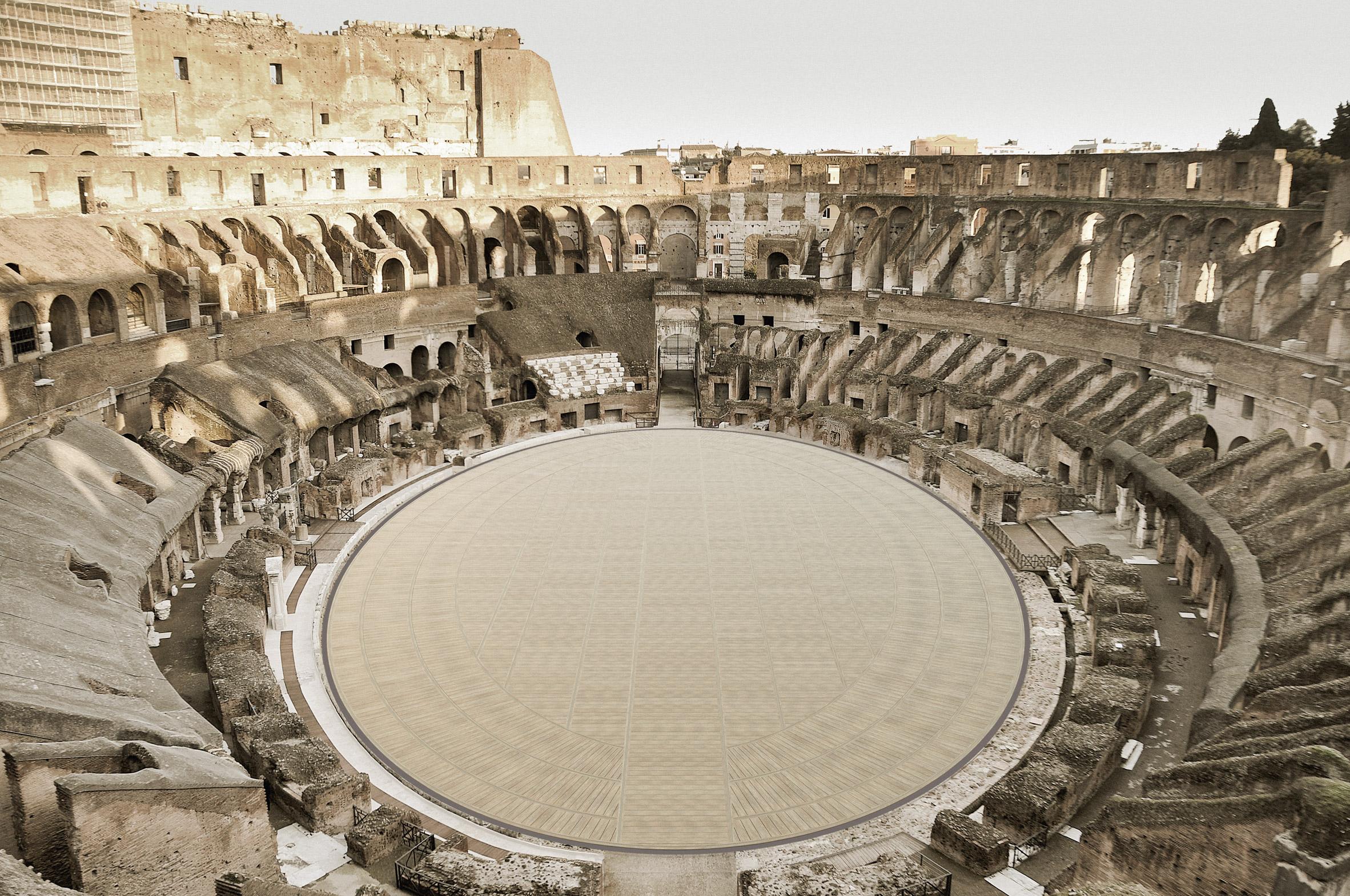 Colosseum wooden floor
