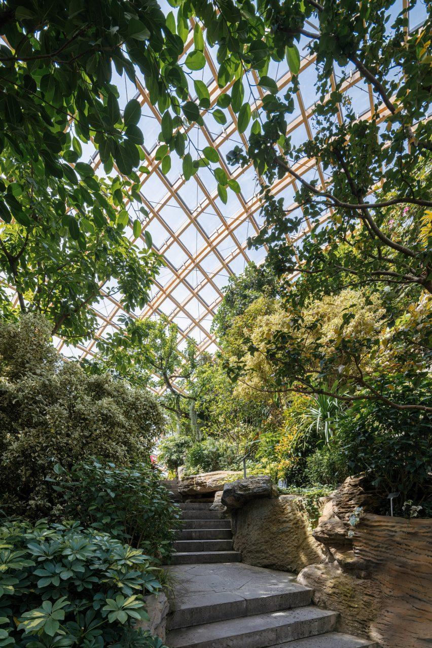 Stone pathways lead around the Taiyuan Botanical Garden