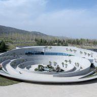 A bonsai garden has a circular form
