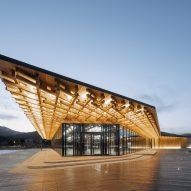 The building has an angular design
