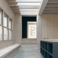 Concrete steps lead to living spaces