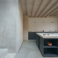 Concrete covers the floors and walls