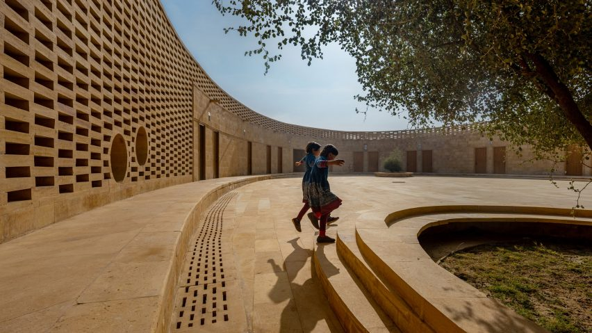 A school in India built from sandstone