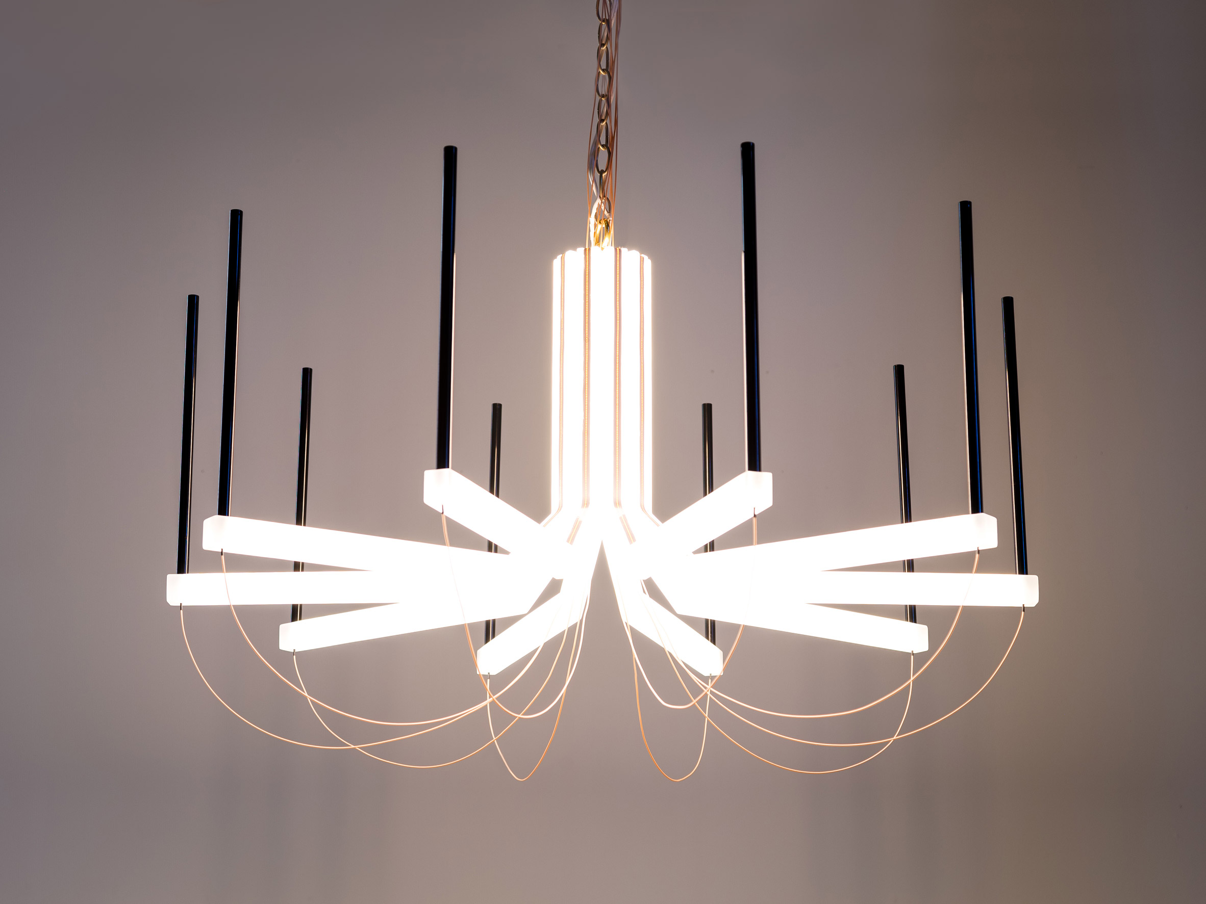 The chandelier was designed by Eric Forman