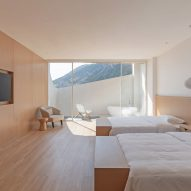 Wood panelled walls line the bedrooms