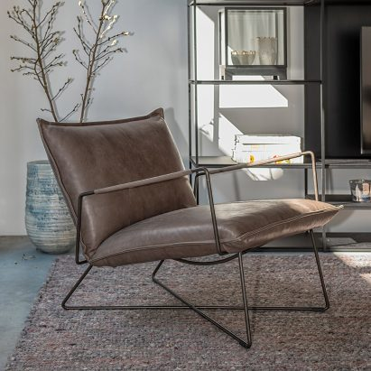 Steel-framed lounge chair