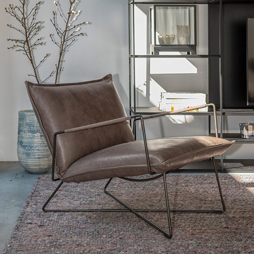 Steel-framed lounge chair