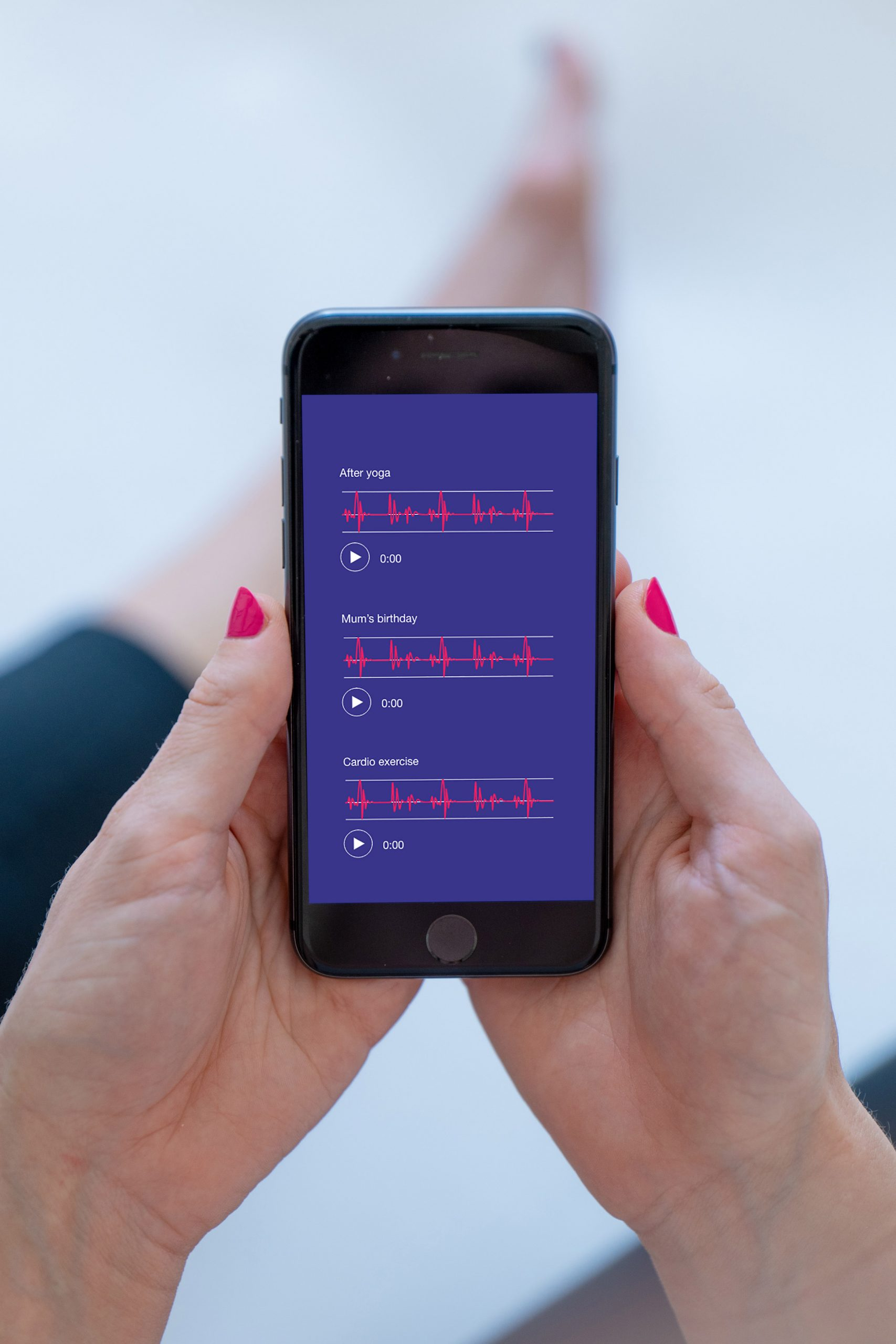 Smartphone showing Echoes app with heart audio recordings