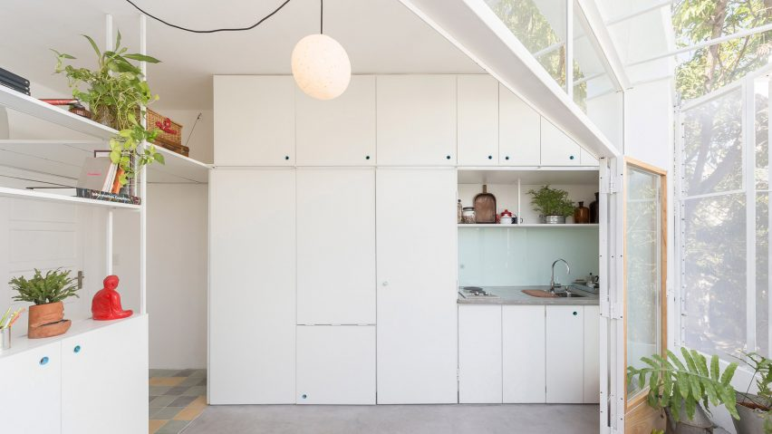 Kitchen with white cabinets in Argentina