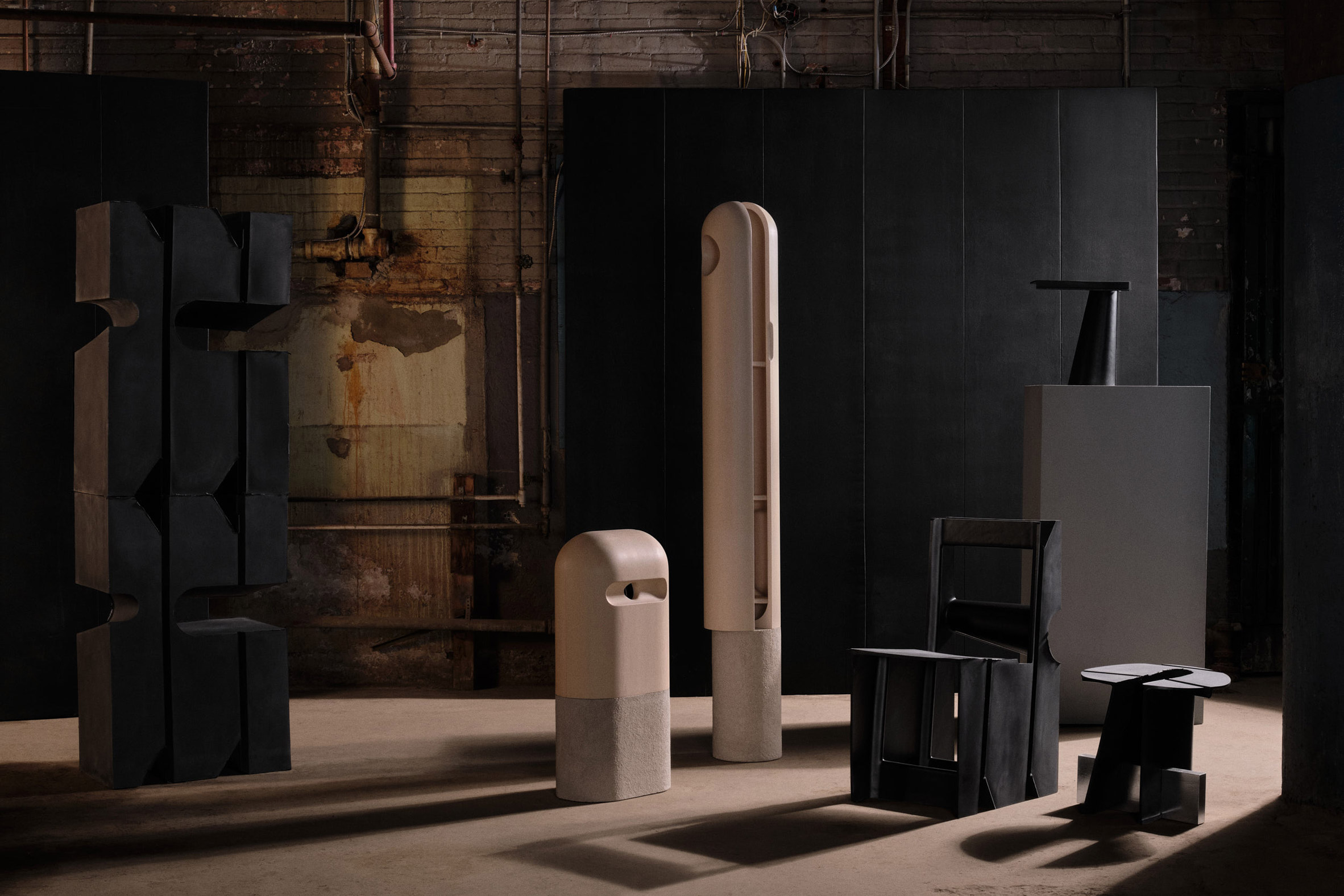 Sculptural stone cabinets