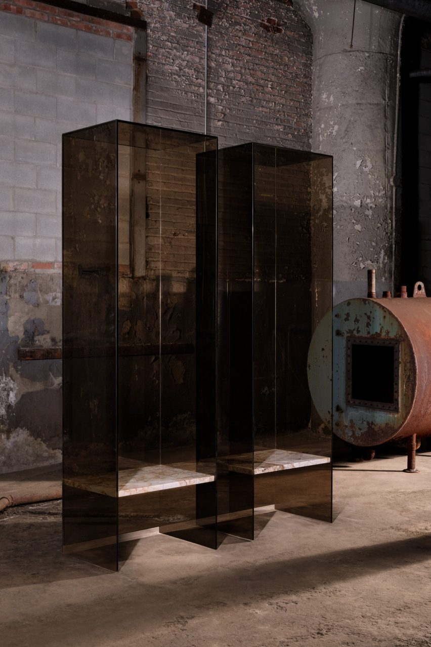 Throne-like chairs encased in glass