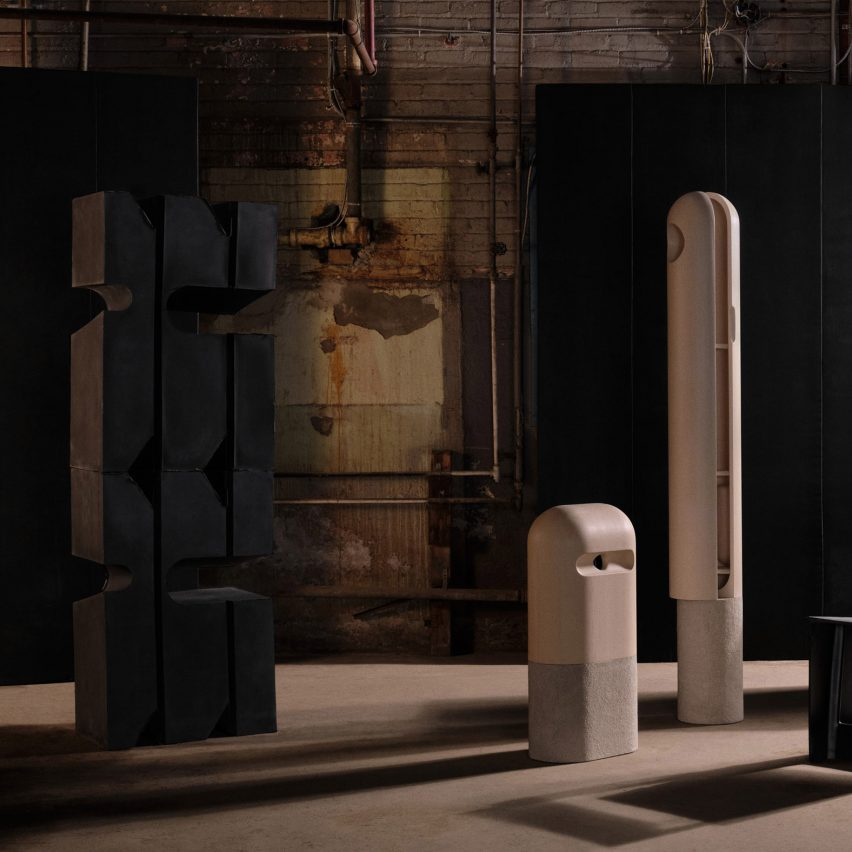 Monolithic stone cabinets in Montreal exhibition