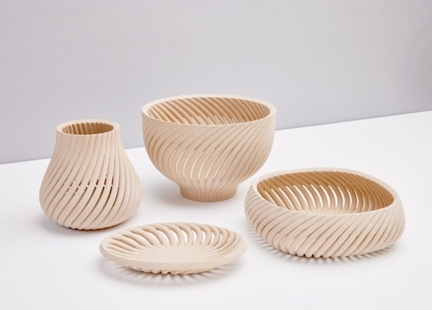Homeware collection by Yves Behar made from 3D printed wood waste