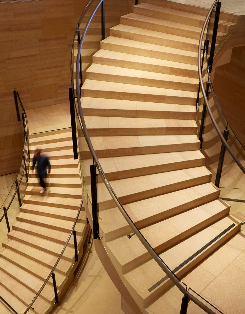 Kasota stone staircases designed by Frank Gehry